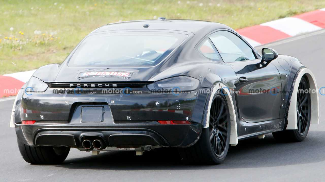 Porsche Cayman test mule with wide fenders