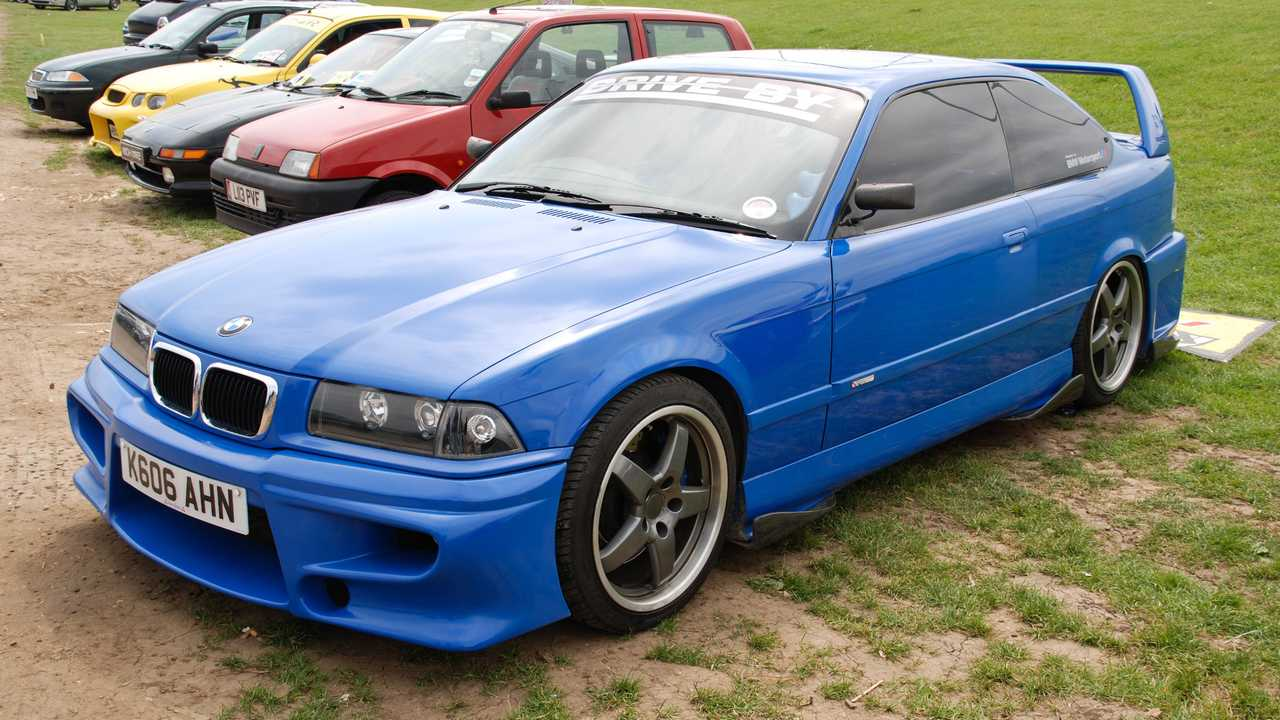 Modified blue BMW M3 at Modified Nationals Show in Peterborough UK