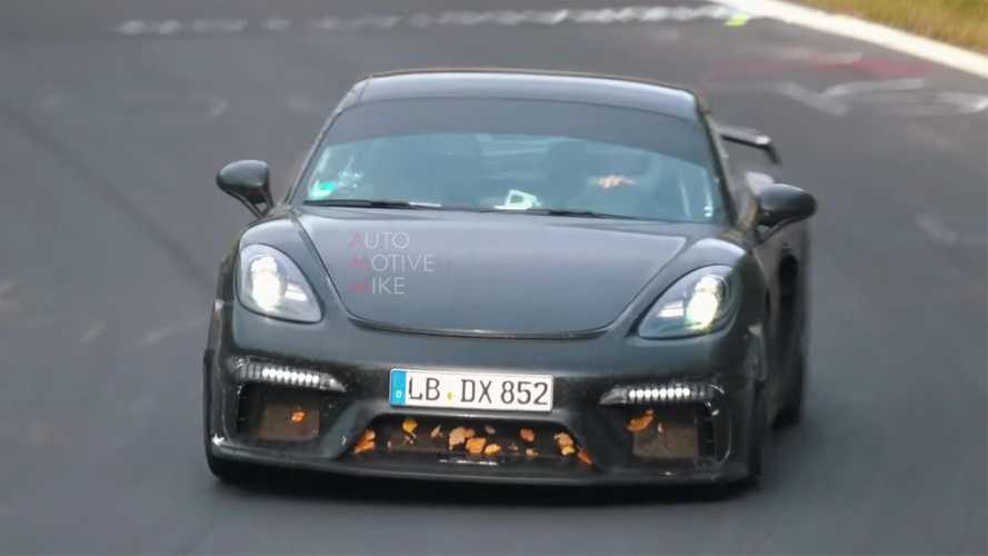 Porsche 718 Cayman GT4 spied on video making wonderful sounds