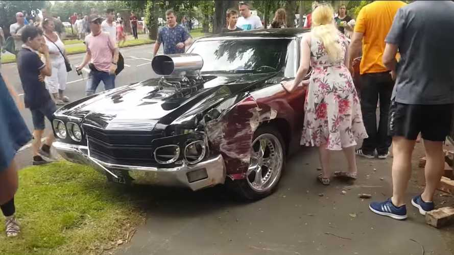 Video: Hopped Up Chevelle Crashes At Doncaster Classic Car Show