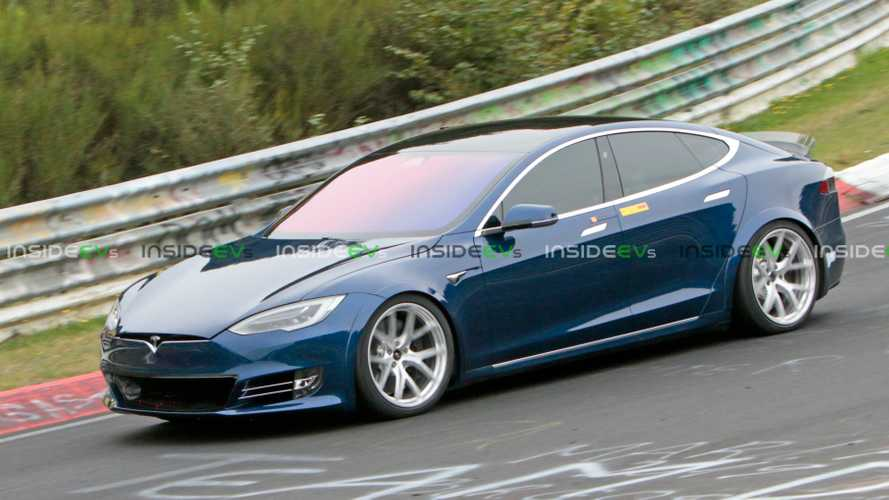 See New Images Of Blue Tesla Model S P100D+ Plaid Lapping Nurburgring