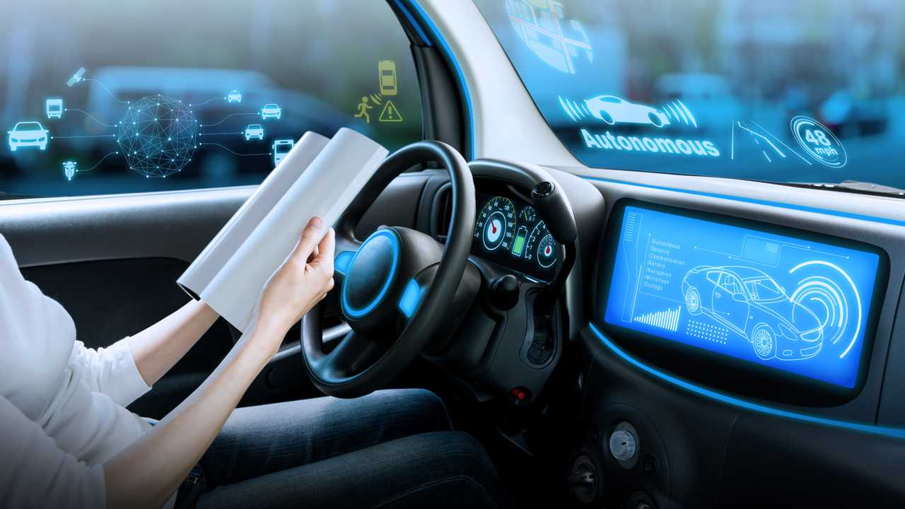 Autonomous car driving with woman driver reading book