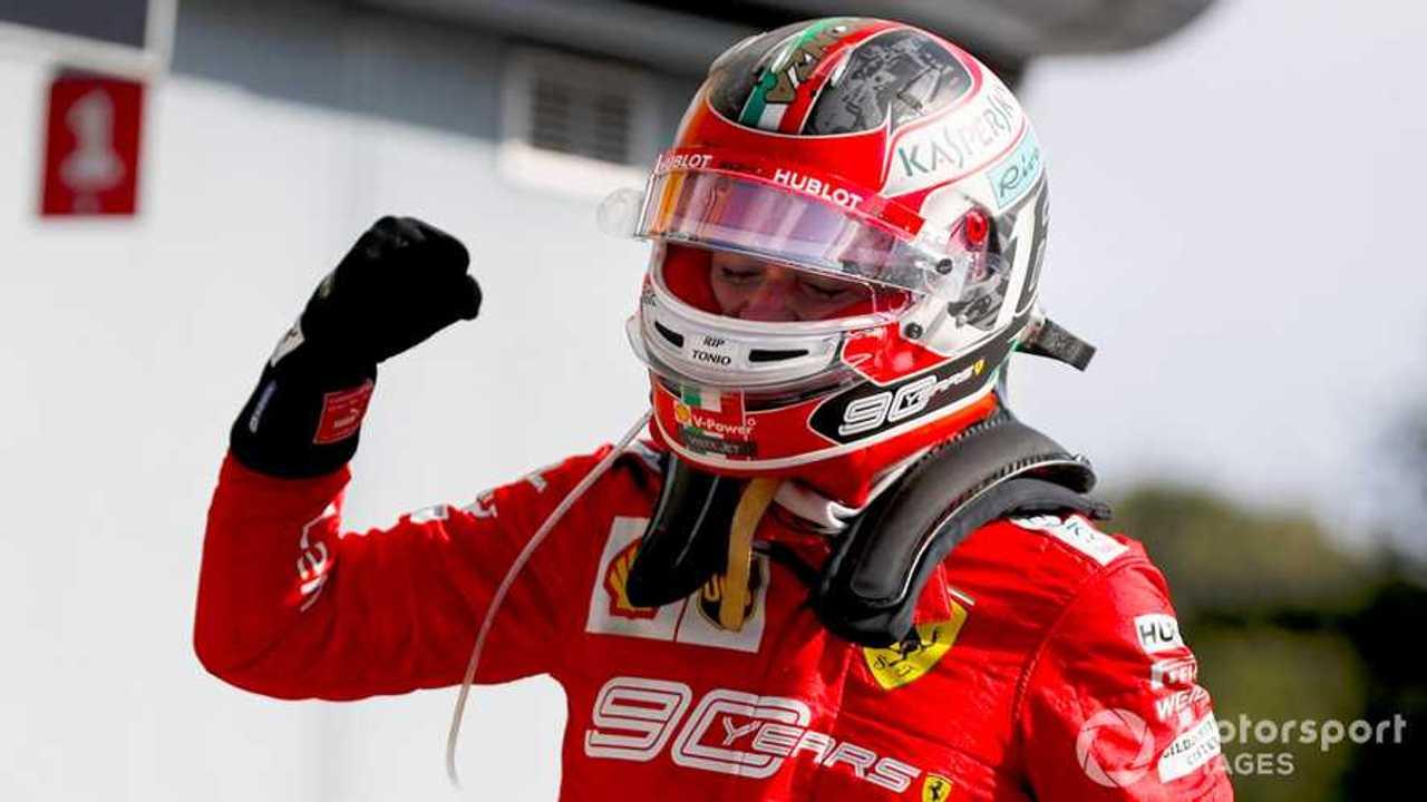 Race winner Charles Leclerc at Italian GP 2019