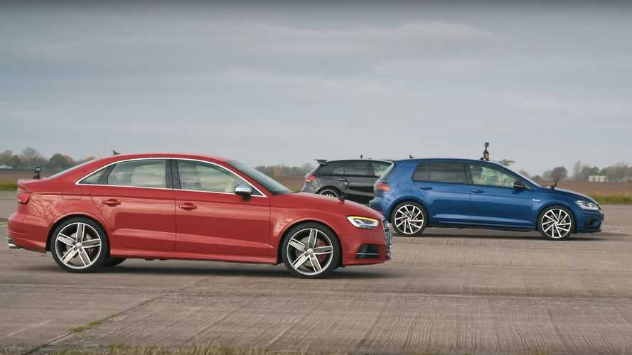 Watch Audi S3 drag race VW Golf R, AMG A35, and BMW M135i