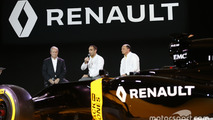 Jerome Stoll, Renault Sport F1 president with Cyril Abiteboul, Renault Sport F1 managing director and Frederic Vasseur, team manager Renault Sport F1 team