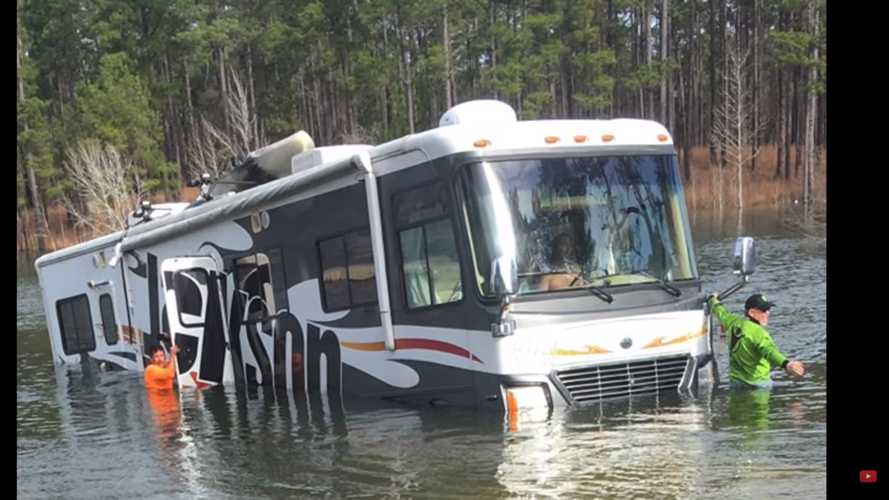 Dog fails driving test, accidentally backs RV into lake