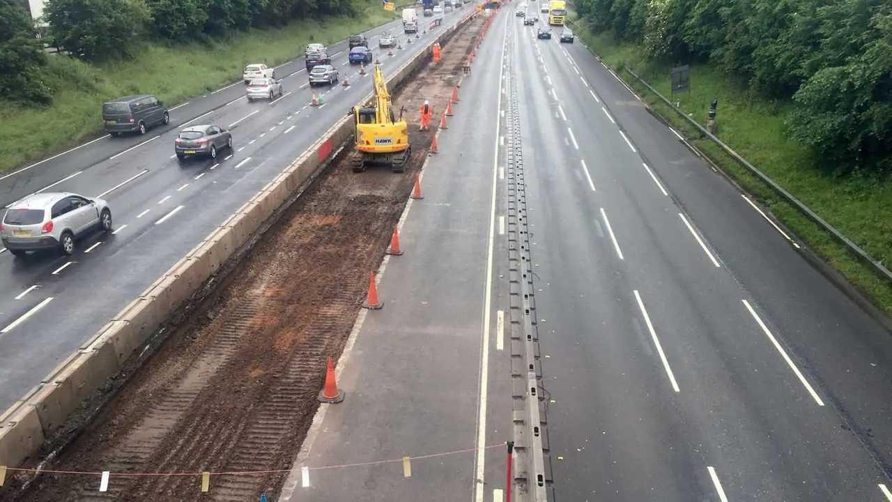 M6 motorway widening construction near Knutsford Cheshire UK