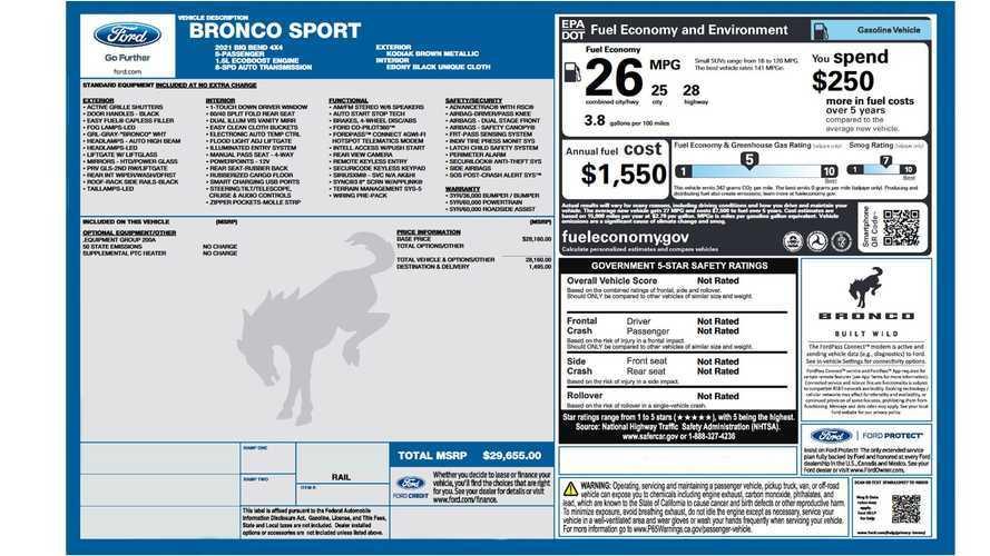 Ford Bronco Sport - Etiqueta de consumo