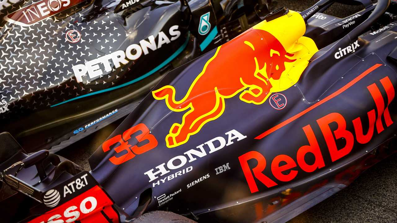 The cars of Max Verstappen, Red Bull Racing RB16, 2nd position, Lewis Hamilton, Mercedes F1 W11 EQ Performance, 1st position, in Parc Ferme after the race