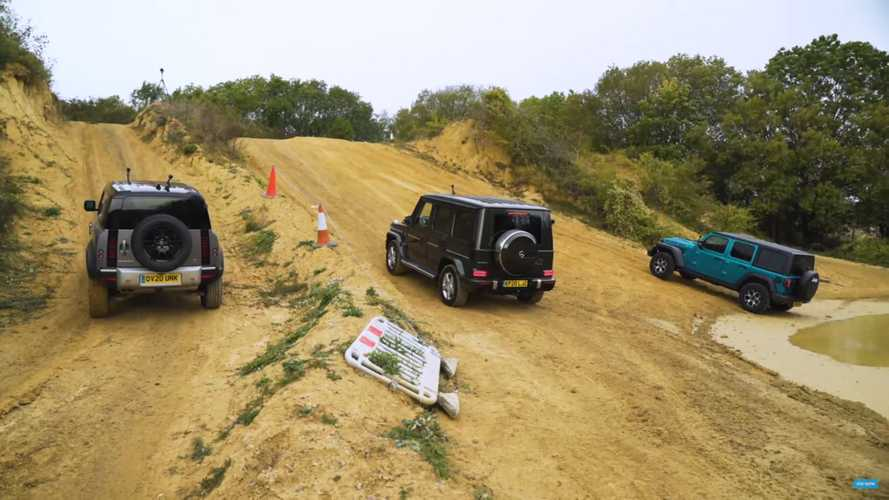 Land Rover Defender drag races G-Class and Wrangler uphill and down