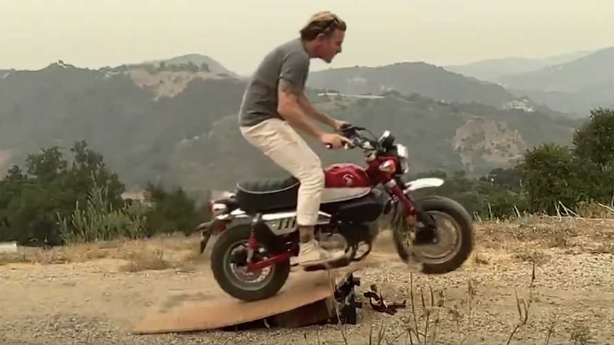 Ewan McGregor performs spectacular jump on a Honda Monkey