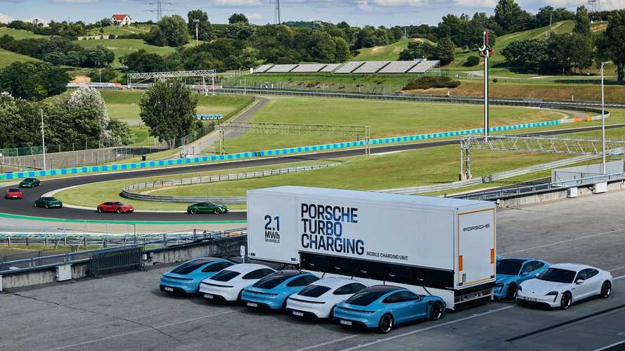 Porsche high-power charging truck for Porsche Taycan Track Experience events