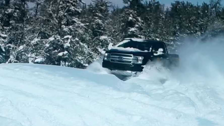 Watch Ford F-150 Electric Truck, Mustang Mach-E Play Together In Snow