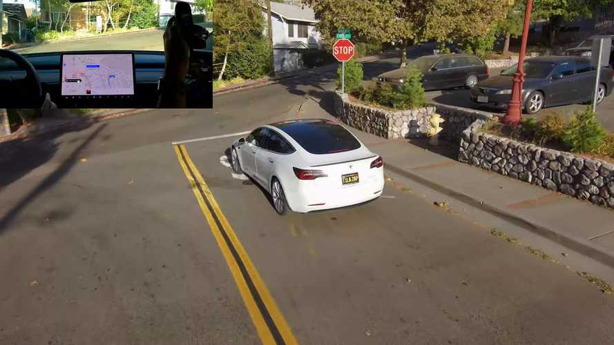 Watch Drone Follow Tesla Model 3 Fully Self-Driving With Some Glitches