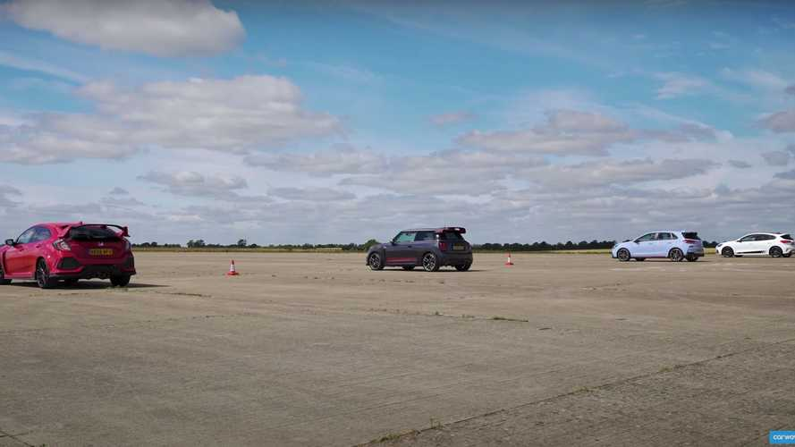 Watch Civic Type R vs Mini GP vs I30 N vs Focus ST in a drag race