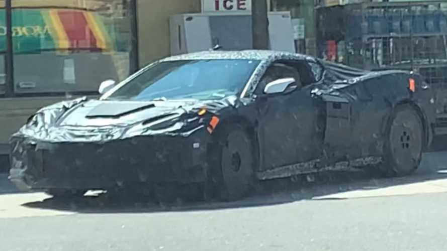C8 Corvette Z06 Prototype Spied On Video With Odd Covering On The Hood
