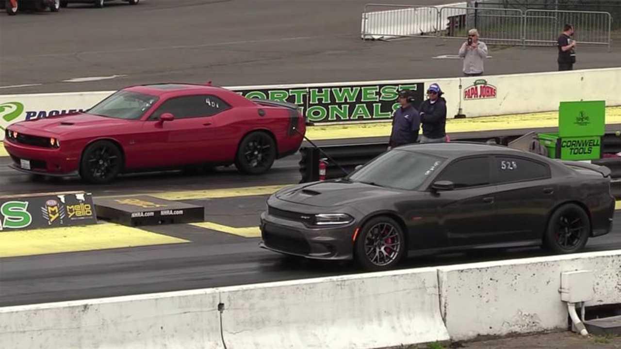 Dodge Charger SRT Meets Challenger R/T Scat Pack At Drag Strip