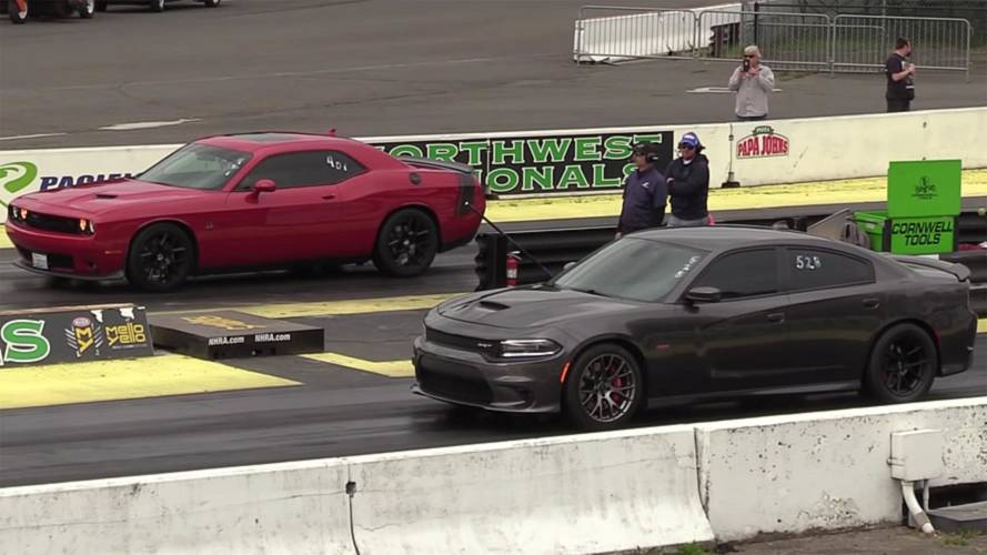 Dodge Charger SRT Meets Challenger R/T Scat Pack At Drag Strip