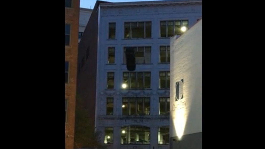 Fast 8 stunt shoot rolls car off Cleveland building
