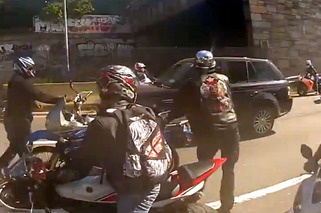 Range Rover Crashes Through NYC Motorcycle Rally [w/video]