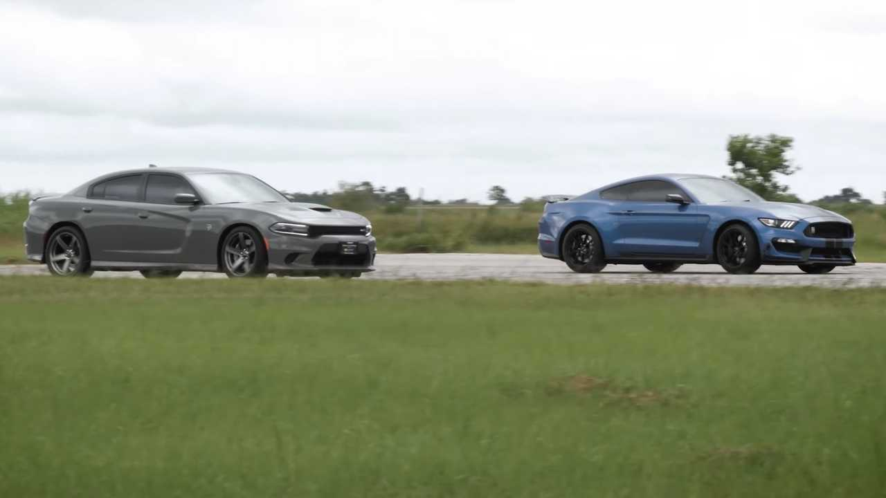 Hennessey Ford Mustang Shelby GT350 Races Dodge Charger SRT Hellcat