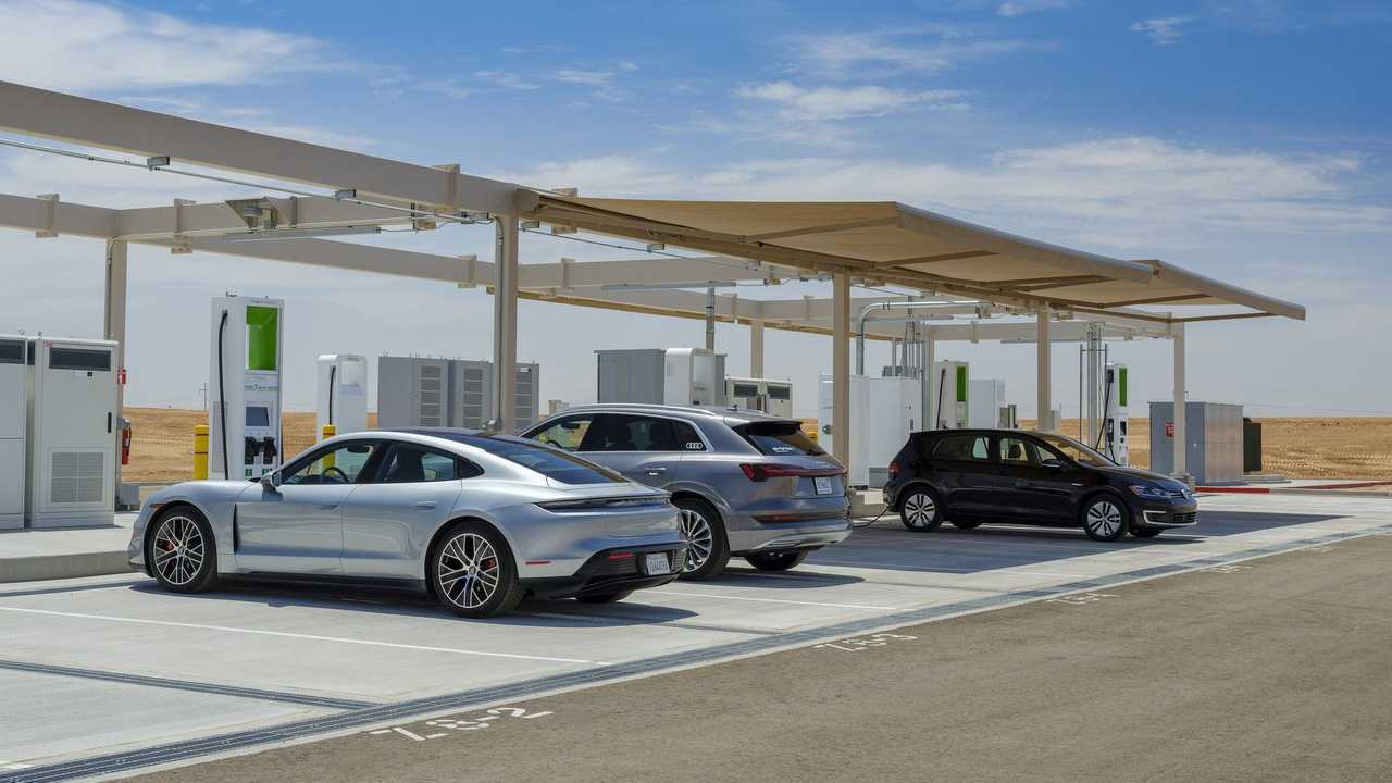 Volkswagen Group of America charging station at Arizona global test center