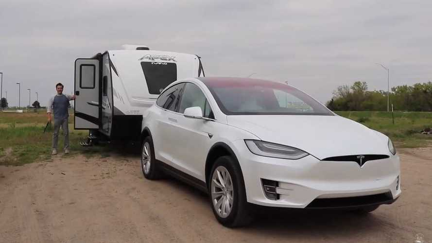 Tesla Model X With Camper: Family's First Official Towing Test
