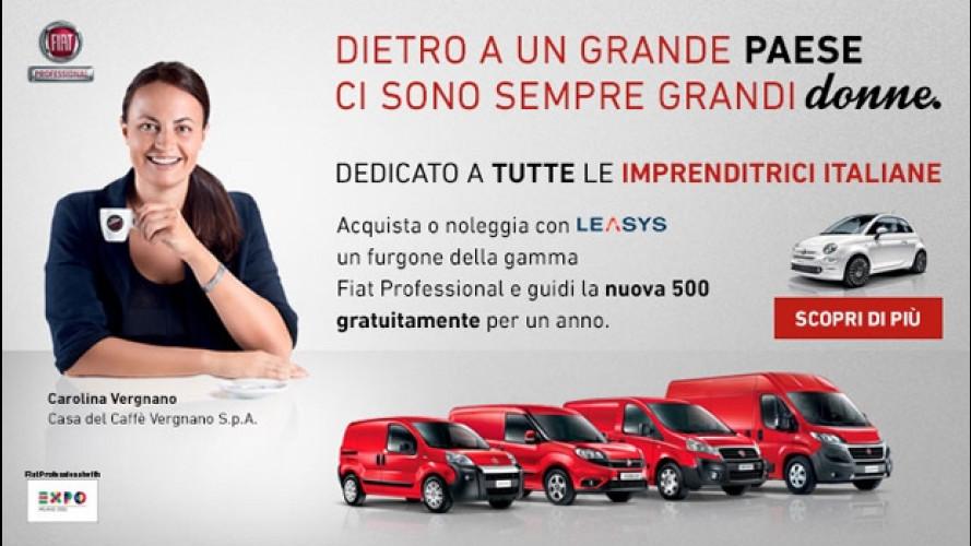 Nuova Fiat 500, l'imprenditrice che acquista un furgone la guida gratis per un anno