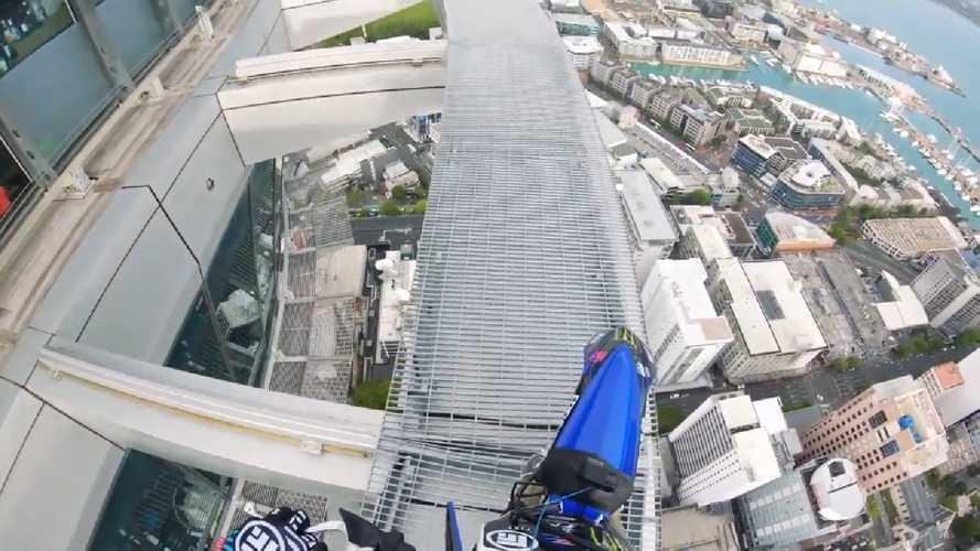 Daredevil Taka Higashino Rides Auckland's Sky Tower