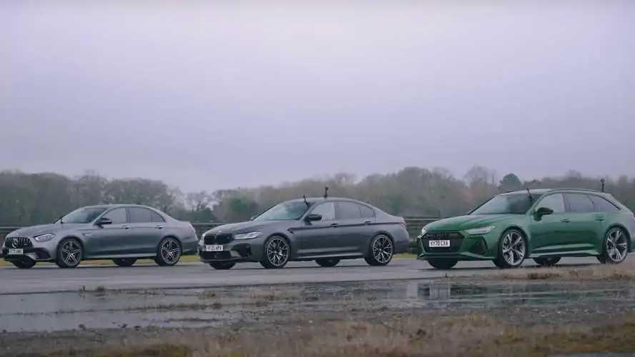 Audi RS6 Avant, BMW M5 ve Mercedes-AMG E63 ıslak zeminde yarışıyor!