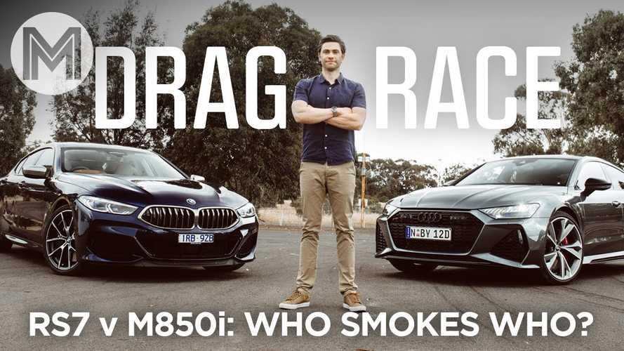 Audi RS7 Duels BMW M850i Gran Coupe In Drag And Rolling Races