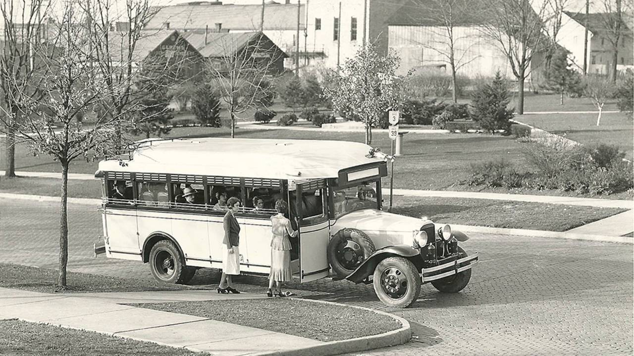 <strong>Example of an early Flxible bus, built using a custom body mounted on a lengthened car chassis. Photo courtesy of the CRF Museum / Mohican Historical Society, Loudonville Ohio.</strong>