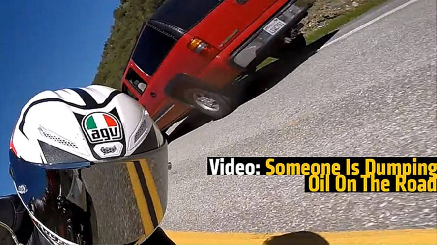 Video: Someone Is Dumping Oil On The Road And Putting Motorcyclists at Risk