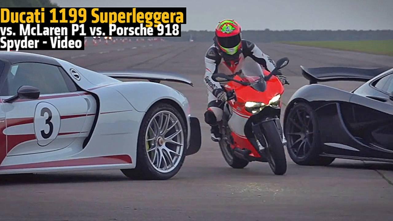 Ducati 1199 Superleggera vs. McLaren P1 vs. Porsche 918 Spyder - Video