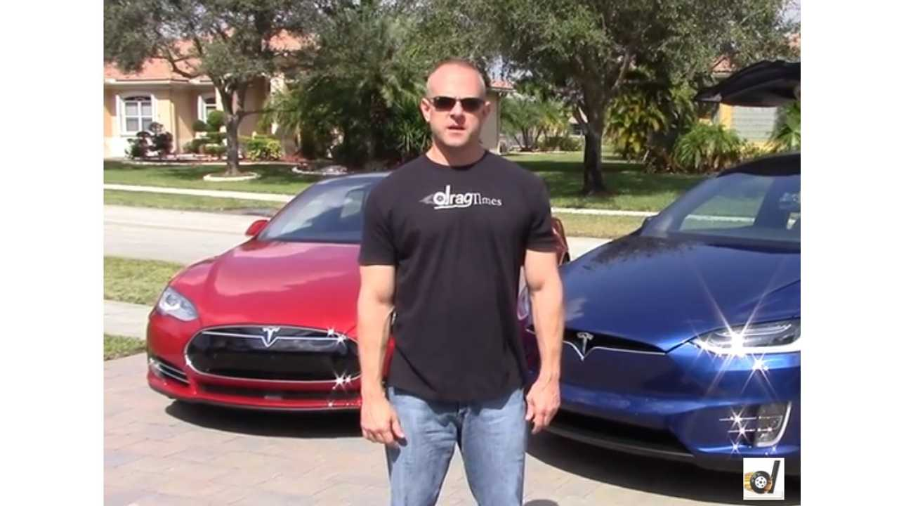 DragTimes Pits Tesla Model S P90DL Versus Model X P90DL - Race Video