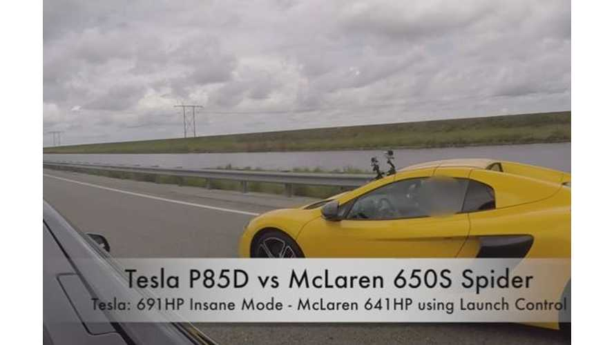 Tesla Model S P85D Versus McLaren 650S - Drag Race Video