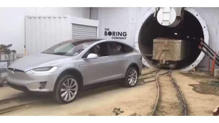 Watch Tesla Model X Pull 250,000 Pounds Of Rail Car Out Of A Tunnel