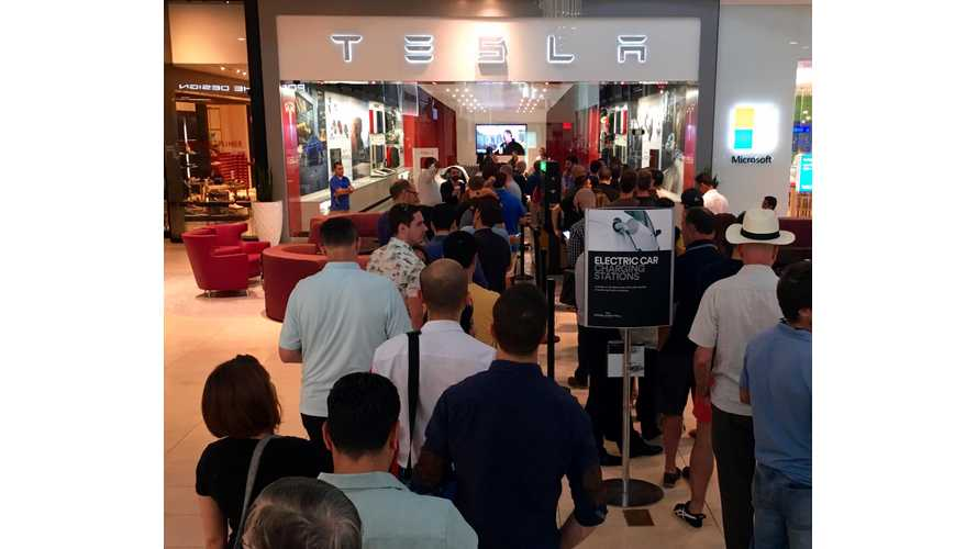 Tesla Model 3: Impressive Lines Forming At Tesla Stores Around The Globe (w/videos)