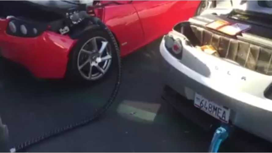 Two Tesla Roadsters charging from the CHAdeMO using JdeMO