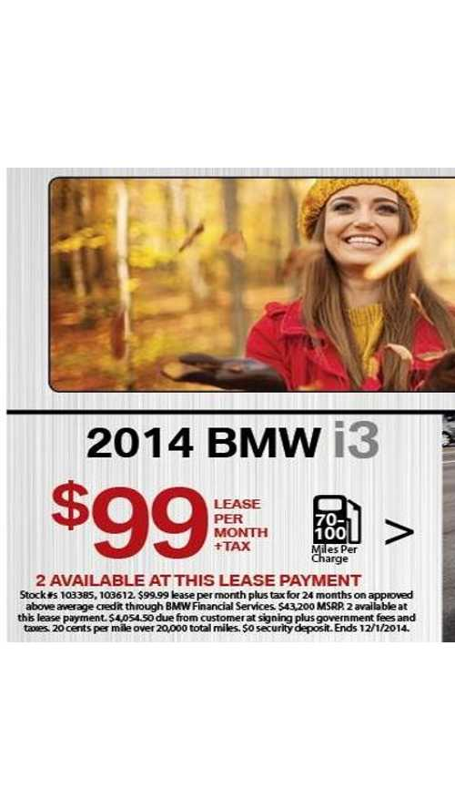 Black Friday Deal: BMW i3 Lease Only $99 Per Month