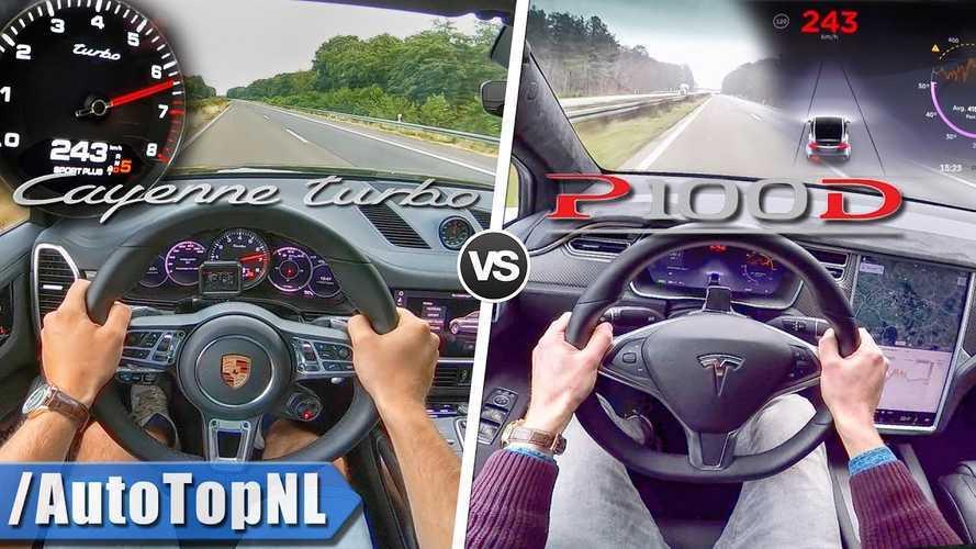 Watch Tesla Model X P100D Versus Porsche Cayenne Turbo