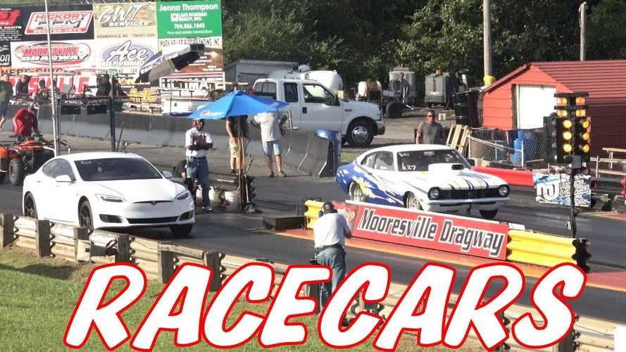 Watch Tesla Model S P100D Versus The Baddest Racecars