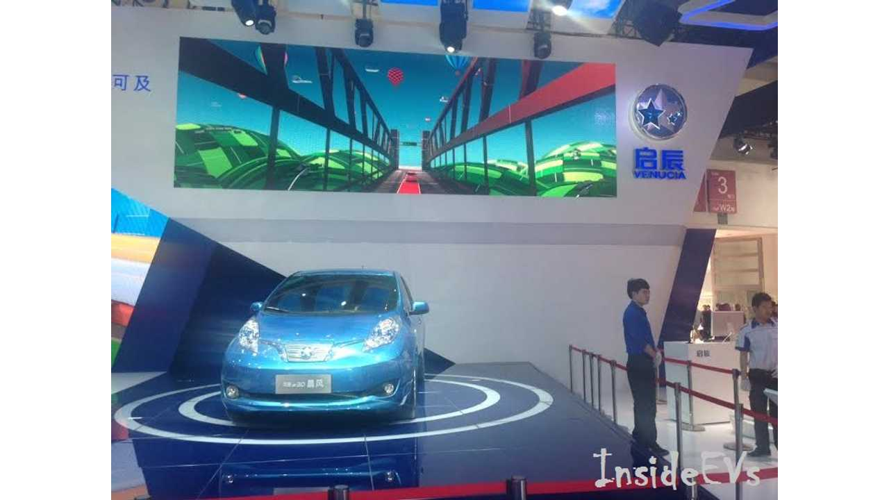 We Caught The Venucia e30s Worldwide Debut At Auto China in 2014...which is really like saying we saw a stripped down Nissan LEAF