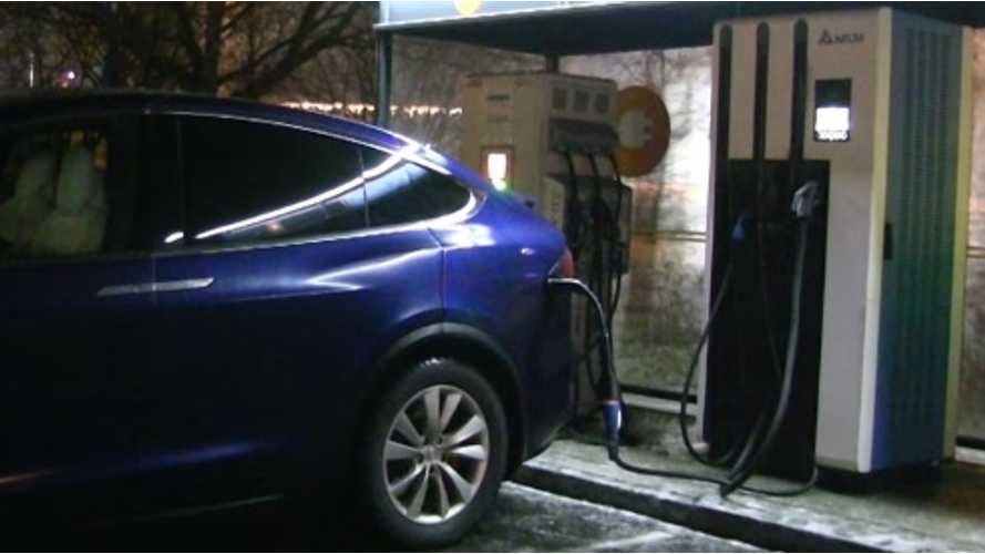 Tesla Model X with CHAdeMO adapter at 100 kW CHAdeMO charger