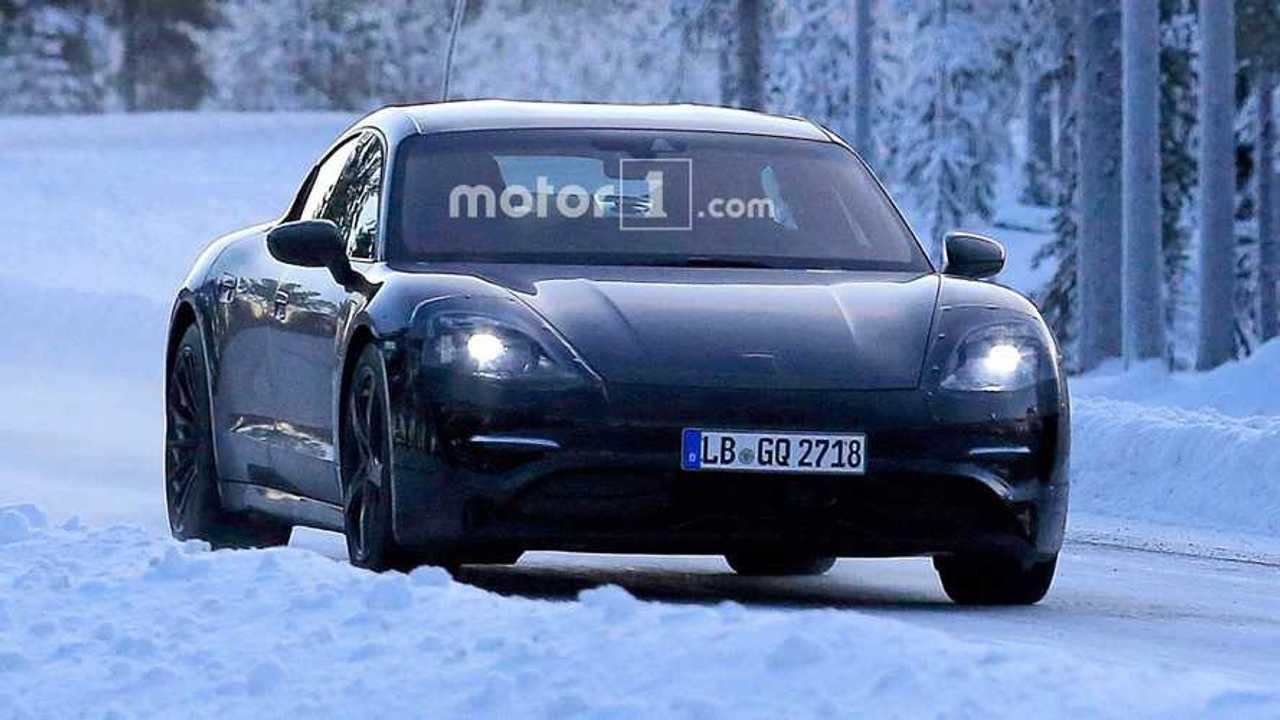 Porsche Mission E Spied In The Snow