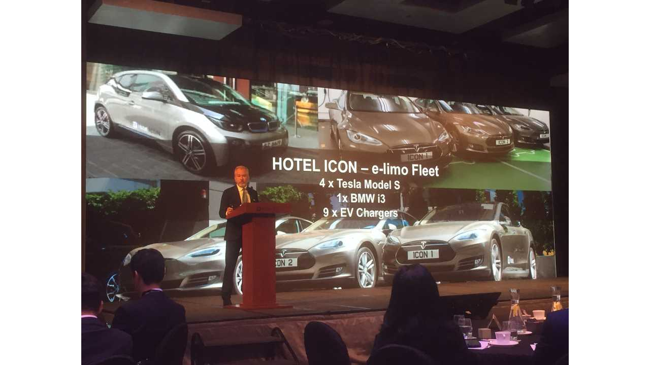 Richard Hatter, General Manager of Hotel ICON sharing their hotel's uphill battle experience to become the first hotel in HK to deploy an electric shuttle bus fleet.