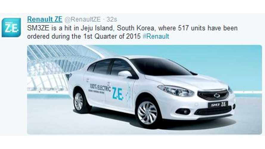 517 Orders Placed For Renault Samsung SM3ZE On Jeju Island In Q1 2015