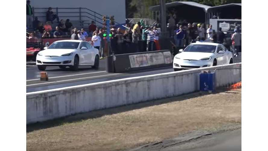 Stock Tesla Model S P100D Versus Modified P100DL - Drag Race Video