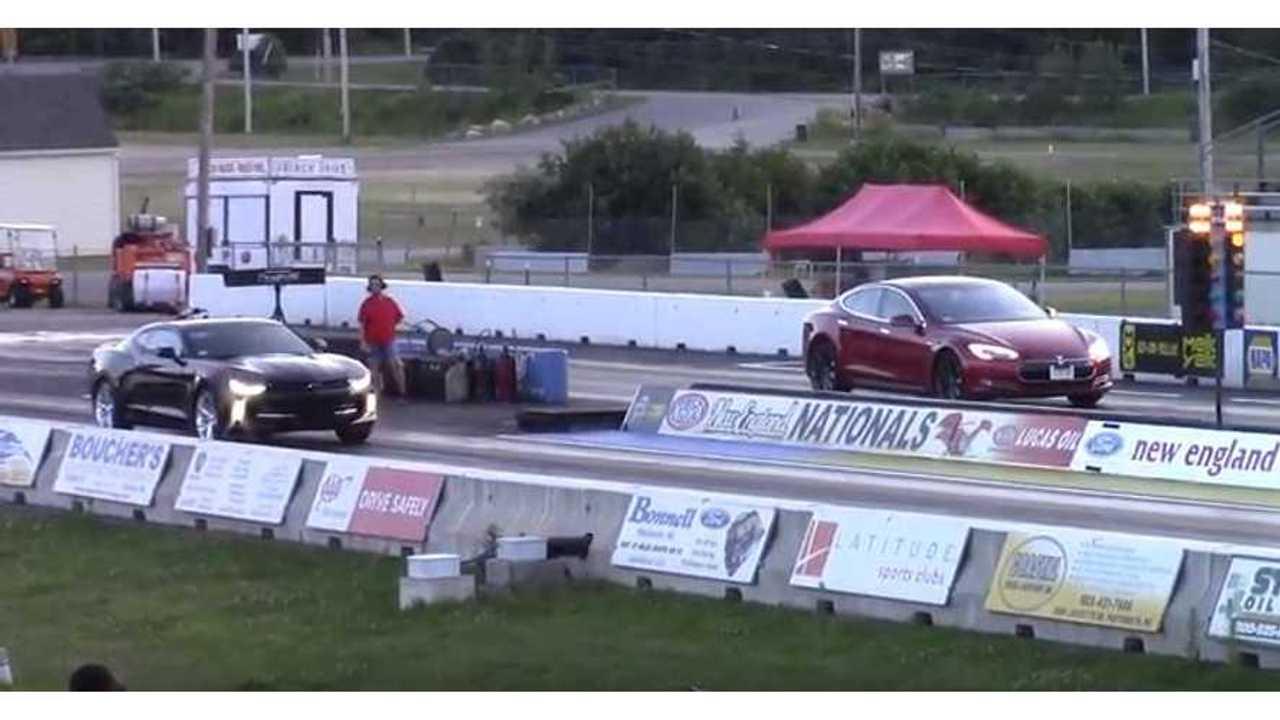Watch Tesla Model S Take Down Turbo Chevy Camaro