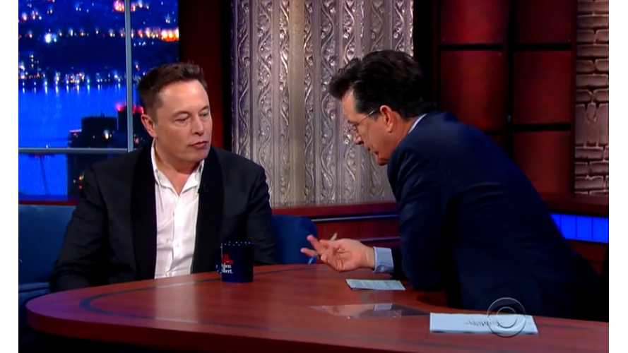 Elon Musk Appears On Late Show With Stephen Colbert - Video